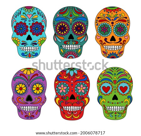 Day of the Dead  skulls. Dia de los muertos. Day of the dead and  mexican Halloween. Mexican tradition  festival. Day of the dead sugar skull isolated. Dia de los Muertos tattoo skulls set.
