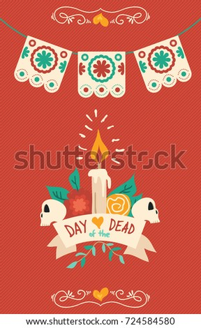 Day of the dead sugar skull illustration for mexican celebration, traditional mexico skeleton decoration with colorful art. EPS10 vector.