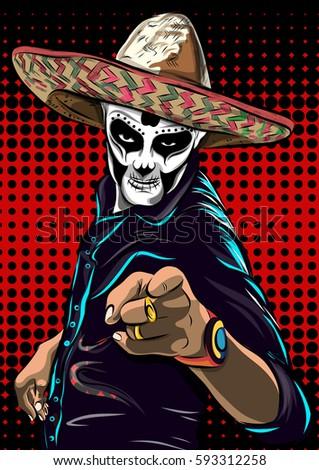 day of the dead sugar skull man