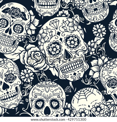 Day of The Dead sugar skull with floral ornament and flower seamless pattern