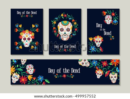 Shutterstock Day of the dead template set for greeting card, label or tag. Traditional mexican decoration with colorful art and flowers. EPS10 vector.