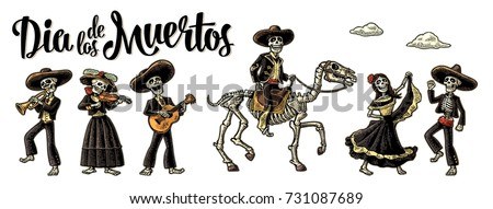 Day of the Dead. The skeleton in Mexican national costumes dance, play the guitar, violin, trumpet. Dia de los Muertos lettering. Vintage vector color engraving illustration isolated white background