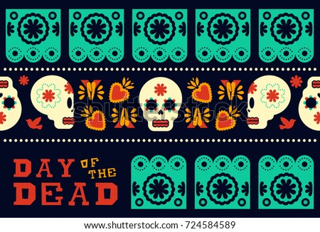 Day of the dead traditional style seamless pattern design with sugar skull and modern mexican culture decoration icons. EPS10 vector.