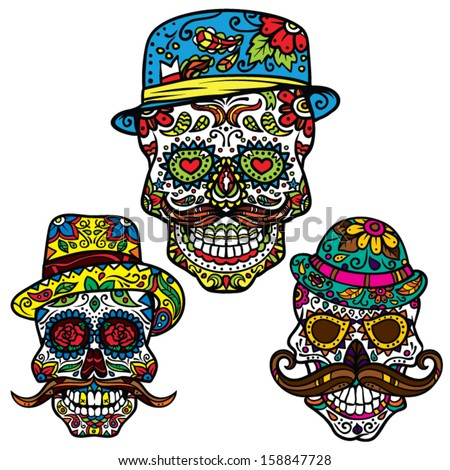 Day of the dead vector illustration set Hipster Sugar Skulls