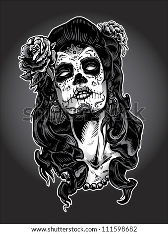 Day of the Dead Sugar Skull Girl Tattoo Face