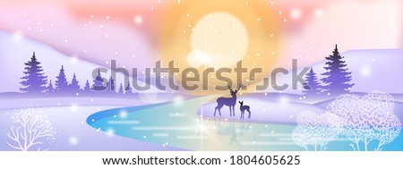 day winter landscape with deer