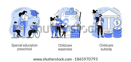 Daycare financial help abstract concept vector illustration set. Special education preschool, childcare expenses and subsidy, inclusive kindergarten, children with disabilities abstract metaphor.