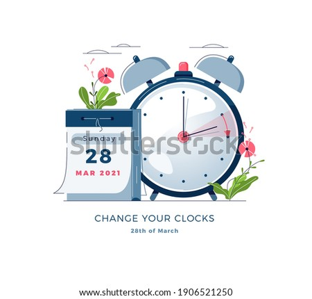 Daylight Saving Time banner. Calendar with marked date, text Change your clocks. Changing the time on the watch to summertime, spring forward, DST begins in Europe concept. Flat vector illustration Foto stock ©
