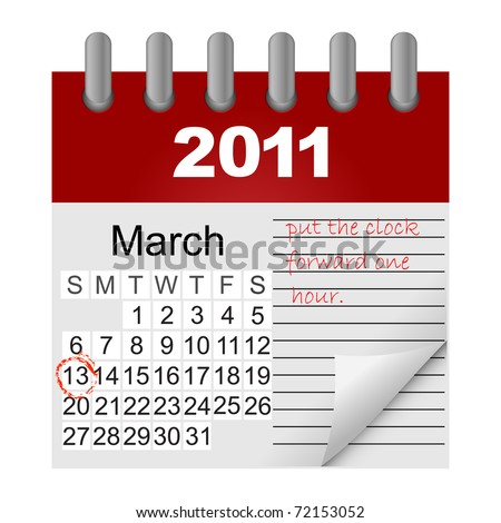Daylight saving time begins march 13. icon calendar. vector.