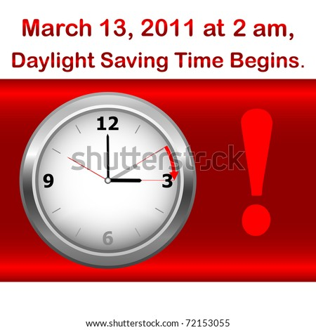 Daylight saving time begins march 13. Icon clock. vector.
