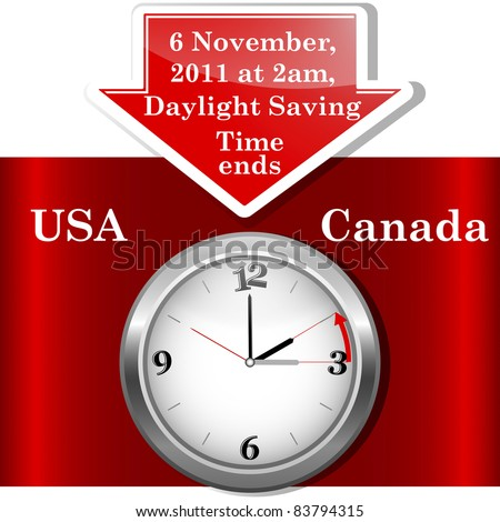 Daylight saving time ends sunday, november 6, 2011 at 2 am. Icon clock. Vector 10EPS.