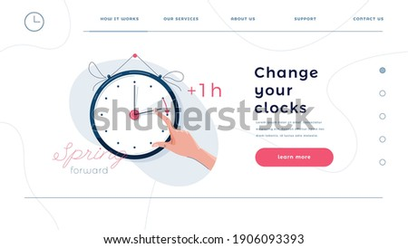 Daylight saving time homepage template. Human hand is turning the clock hands forward by an hour. Turning to summer time, spring clock changes concept for web design. Flat style, vector illustration