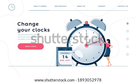 Daylight saving time homepage template. Woman sets the clocks forward by an hour, as dst time begins. Change your clocks concept for web design. People in flat cartoon style, vector illustration