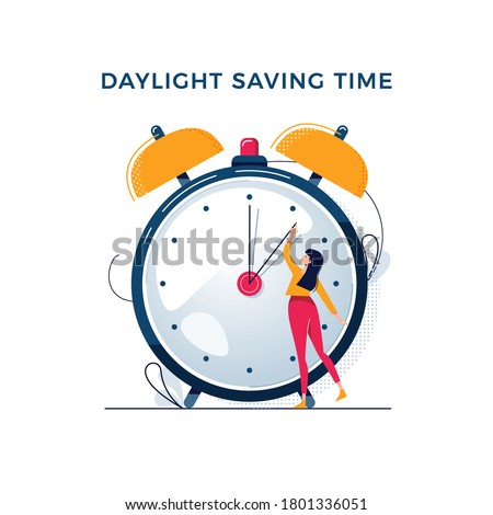 Daylight saving time illustration. Young woman turns the hand of the clock. Turning to winter or summer time, alarm clock vector design. Character in modern flat art style for your tiny people concept