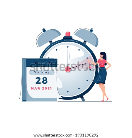 Daylight saving time vector illustration. Woman pushes the clocks forward by an hour, as daylight-saving time begins. Calendar, alarm clock image. Turning to summer time concept for banner. Flat style