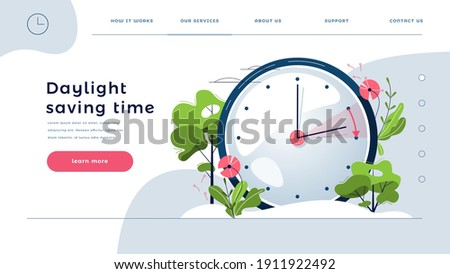 Daylight Saving Time web template. The clocks moves forward one hour. Floral landscape with text Spring Forward, the hand of the clocks turning to summer time, for homepage. Flat vector illustration