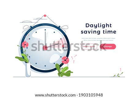 Daylight Saving Time web template. The clocks moves forward one hour to daylight-saving time. Floral decoration, pink flowers. Spring clock changes concept for landing page. Flat vector illustration