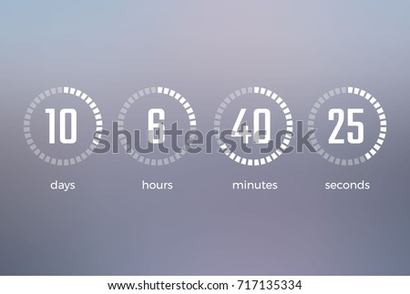 Days hours minutes seconds, icon of timer showing what time is left to beginning of certain event vector illustration isolated on grey