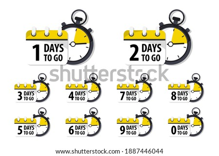 Days Left Badges and Stickers. Count time sale. Number of days left. Countdown left days banner. Count down vector banner template. Nine, eight, seven, six, five, four, three, two, one, zero days left