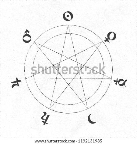 Vector geometric alchemy symbol with… Stock Photo 324262460