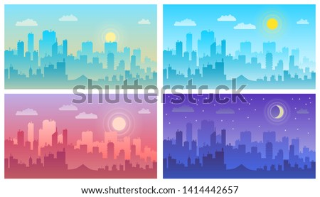 Daytime cityscape morning, day and night city skyline landscape, town buildings in different time and urban cityscape town sky. Architecture silhouette vector background collage set