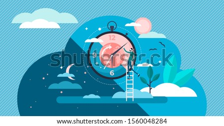 Daytime cycle tiny person flat vector illustration. Natural planet movement around the sun. Daily morning till evening routine. Healthy human Circadian sleep rhythm system. Earth science and astrology
