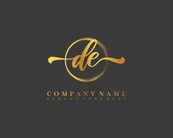 DE initial handwriting logo circle template vector