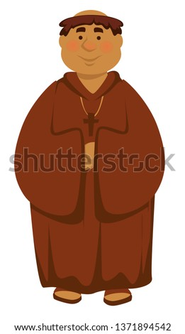 Deacon priest or clergyman church servant isolated Medieval character vector man in robe with cross on neck monk friar preacher monastery or temple ancient historical personage bishop or vicar. Foto stock ©