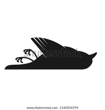 dead black bird silhouette icon