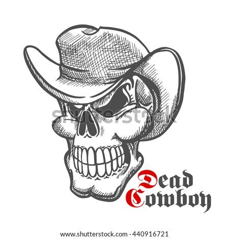 dead cowboy sketch symbol with