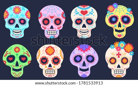 Dead day skulls. Dia de los muertos decoration with flowers and skulls, tattoo floral pattern, traditional mexican festival vector set. Death holiday celebration, skull with bright ornament