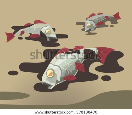 Dead fish covered in oil. Pollution of environment. Vector flat cartoon illustration stock photo