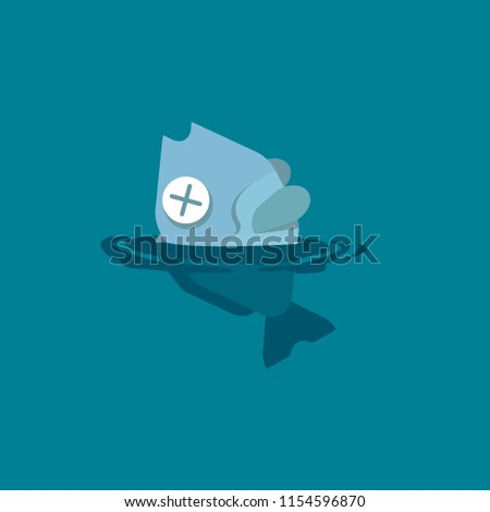 Dead fish floating by poisoning due to toxic spills, chemicals, fuels, oils, and plastics in the aquatic environment. Vector flat illustration.