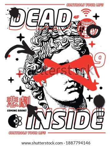Dead inside slogan Translation: 'Tragedy' with statue and smile shapes for t-shirt graphics, banner, fashion prints, slogan tees, stickers, flyer, posters and other creative uses Stock fotó ©