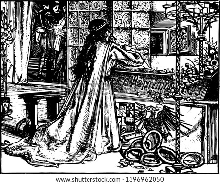 Dead Love was created by M.J. Lawless in 1862 vintage line drawing or engraving illustration.