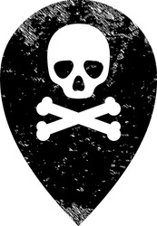 Dead place marker icon with grunge effect. Isolated vector dead place marker icon image with grunge rubber texture on a white background.