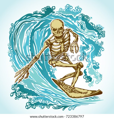 dead surfer skeleton on the