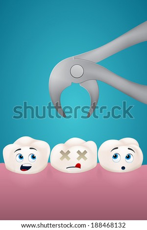 dead tooth on blue background