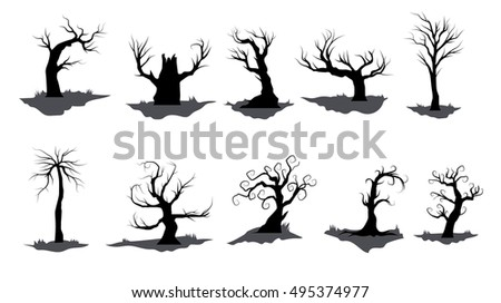 dead tree icon element set for