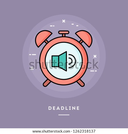 Deadline, alarm clock, flat design thin line banner, usage for e-mail newsletters, web banners, headers, blog posts, print and more. Vector illustration.