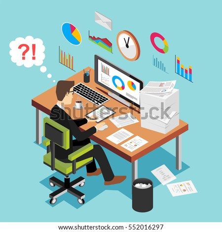 Deadline concept, overworked man, frustration concept. Modern isometric illustration for Web Banner , Website Element , Brochures, or Book cover