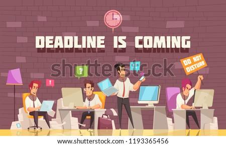 deadline is coming flat vector