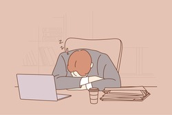 Deadline, overworking, sleep, overload, business concept. Tired exhausted overworked businessman clerk manager sleeping taking nap on office workplace table. Mental stress and tiredness illustration.