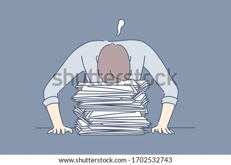 Deadline, overworking, sleep, stress, overload, business concept. Tired exhausted overloaded businessman, office clerk sleeps at workplace on pile of documents. Mental stress because of deadline.