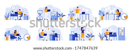 Deadline scenes bundle with people characters. Tired employees hurrying up on deadline at workplace, stressful situation and overtime work. Time management and effectivity flat vector illustration.