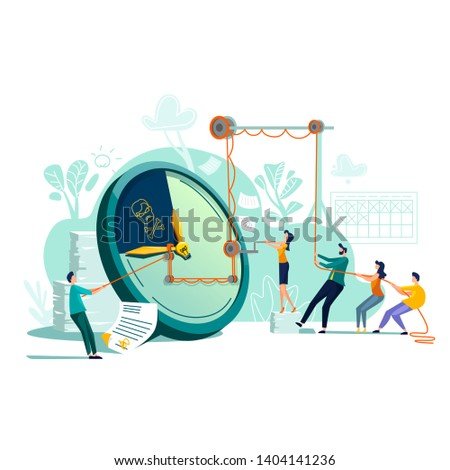 Deadline time management business concept vector. Large watches and hurried workers pulling clock hand using rope pulley or block system, trying to stop or slow down time, teamwork flat illustration Сток-фото ©