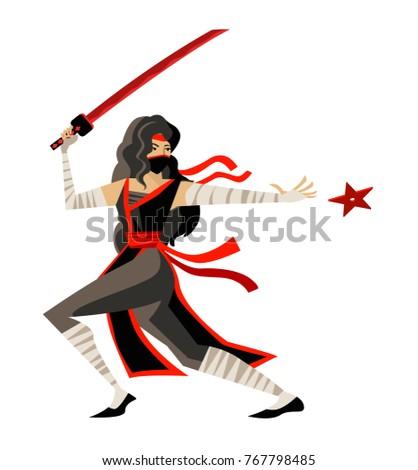 deadly woman ninja throwing star