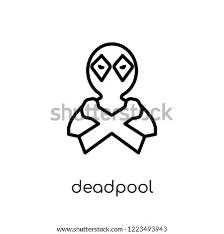 Stock Photo deadpool icon. Trendy modern flat linear vector deadpool icon on white background from thin line Cinema collection, editable outline stroke vector illustration