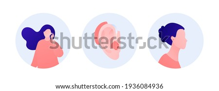 Deaf and hear aid concept. Vector flat human illustration set. Woman and girl character with hearing aid device inserted into ear isolated on white. Design element for medicine, health care. Stock foto ©