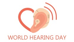 Deaf and world hearing day concept. Ear Hearing Aid icon. Hearing disability concept. Ableism and devirsity concept. Flat vector illustration in cartoon style